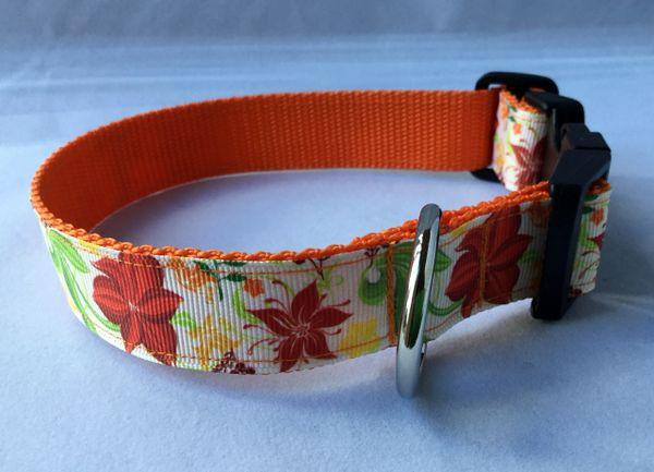 Leaves and Flowers Handmade Dog Collar