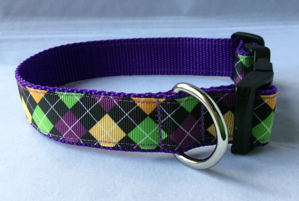 Diamond Pattern Purple,Yellow,Green Handmade Dog Collar