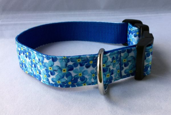 Blue Flowers Handmade Dog Collar