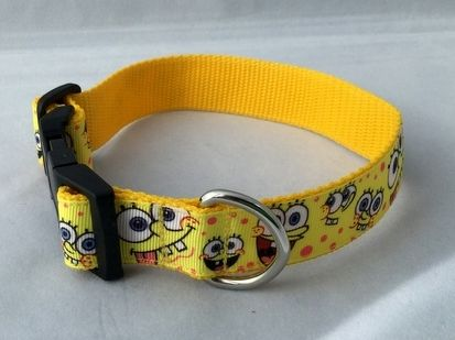 Sponge Bob Face Handmade Dog Collar