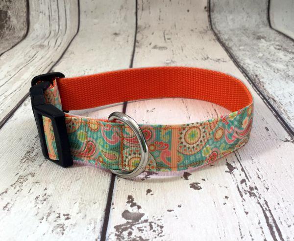 Paisley Print Orange Shades Handmade Dog Collar