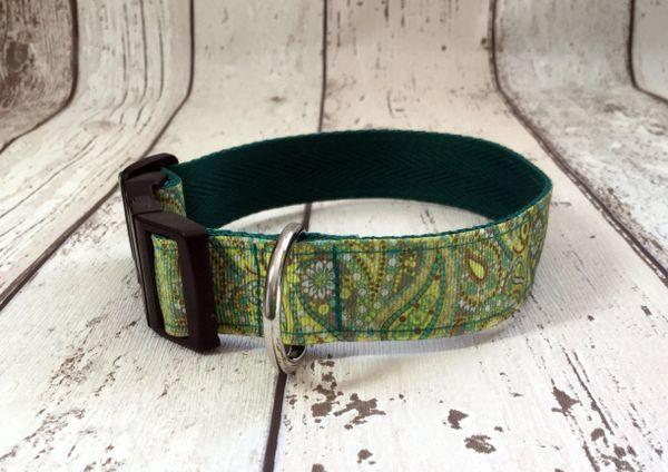 Paisley Print Green Shades Handmade Dog Collar