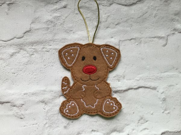 Felt Dog Hanging Decoration Personalised