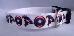 Handmade Super Hero Dog Collar Captain America