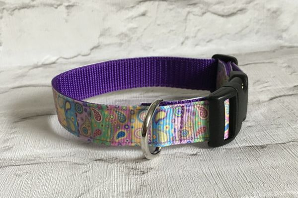 Handmade Dog Collar Multi Coloured Paisley Pattern Blocks