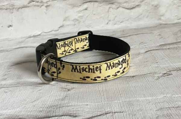 Handmade Dog Collar Mischief Managed