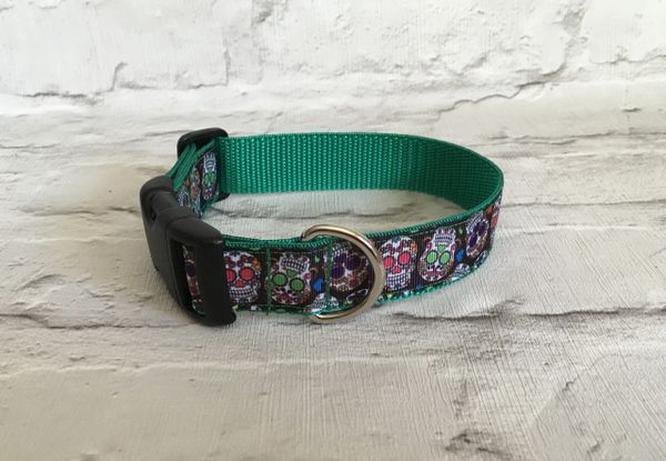 Handmade Dog Collar Sugar Skull Design