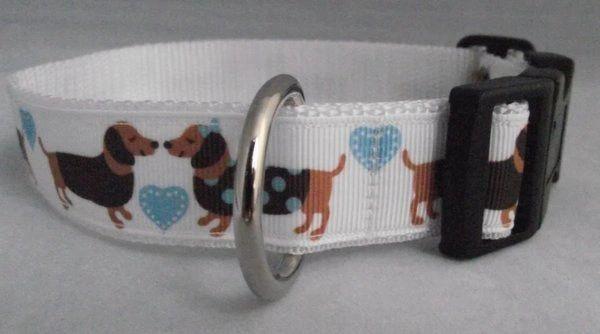 Sausage Dog and Love Hearts Dog Collar Handmade