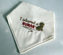 Handmade Dog Bandana Embroidered 'I adopted a Human'