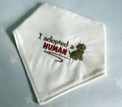 Handmade Dog Bandana Embroidered 'I adopted a Human'