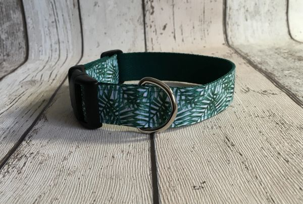 Green Leaf Effect Handmade Dog Collar