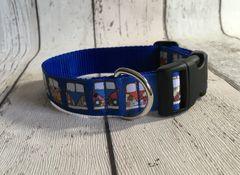 Blue Background Camper Van Handmade Dog Collar