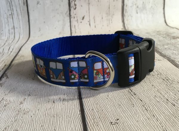 Blue Background Camper Van Handmade Dog Collar