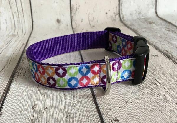 Retro Style Coloured Circles Handmade Dog Collar