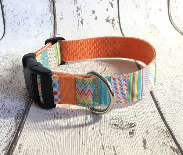 Multi Coloured Blocks Orange Shades Handmade Dog Collar