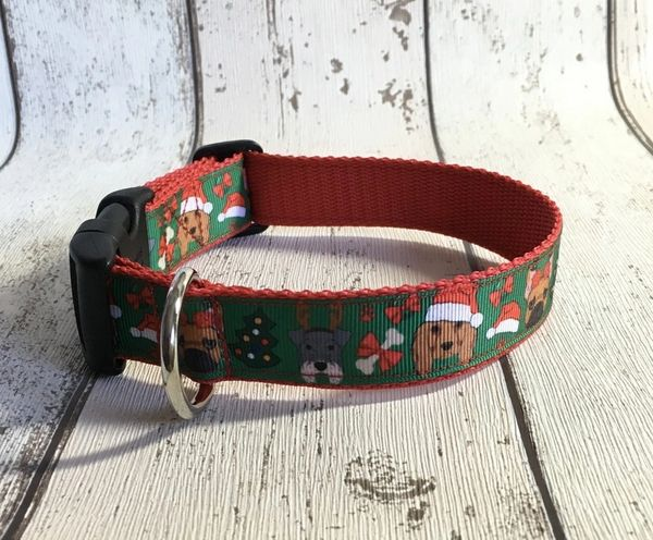 Cute Christmas Dogs Handmade Dog Collar
