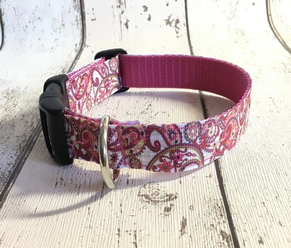 Paisley Print Pink Colours Handmade Dog Collar