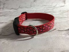 Handmade Multi Red Love Hearts Valentine Dog Collar