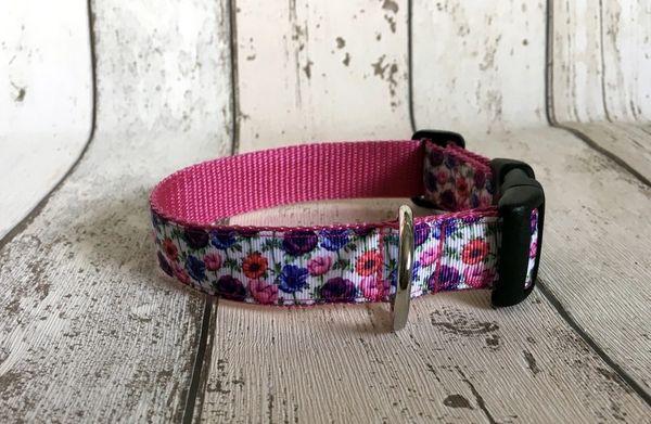 Handmade Multi Coloured Poppies Dog Collar.