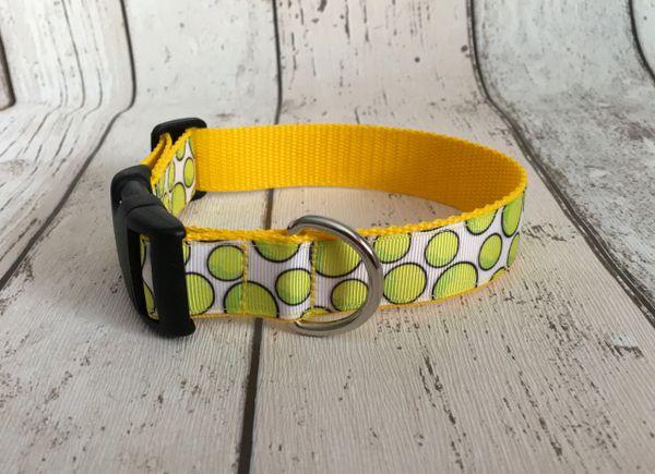 Handmade Tennis Ball Dog Collar.