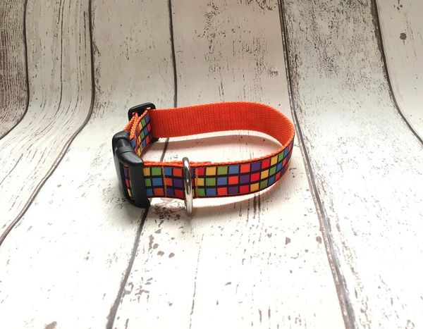 Handmade Colourful Squares Dog Collar