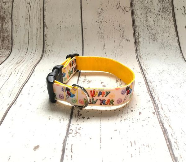 Handmade Happy New Year Dog Collar.