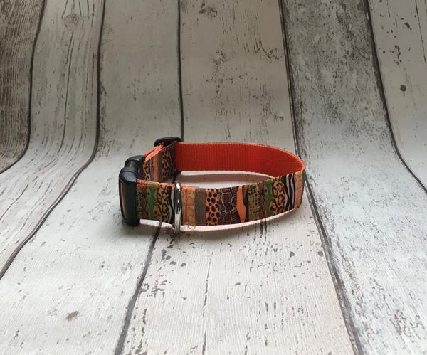 Handmade Colourful Animal Prints Dog Collar.