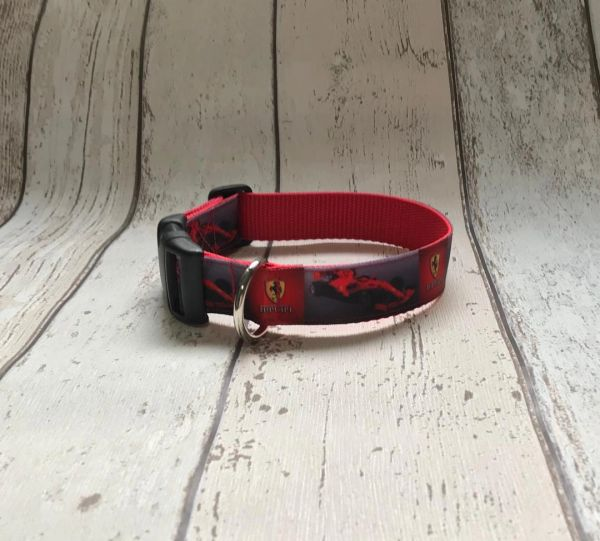 Handmade Ferrari Dog Collar.