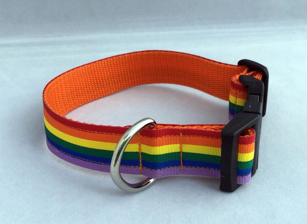 Handmade Dog Collar Rainbow Pride