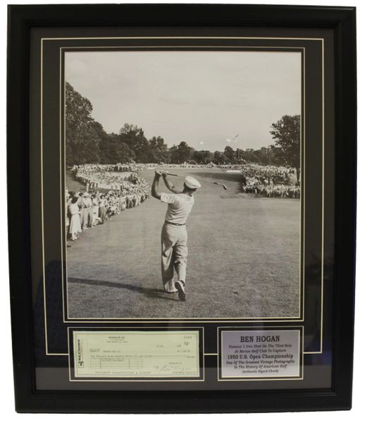 Framed Ben Hogan Picture Of Famous 1 Iron Shot On The 72nd Hole A Quality Sports Collectibles