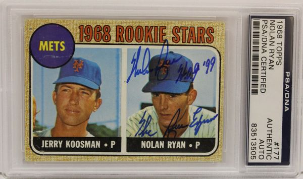 1968 Topps Nolan Ryan Signed Rookie Card Psadna Authenticated