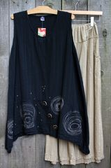 Black Breezy Gauze Tunics w/Art