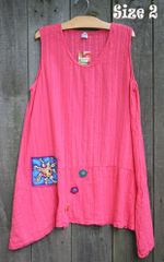 Coral Breezy Gauze Tunic w/Art