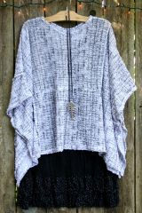 Lightweight Black/White Sweater Poncho
