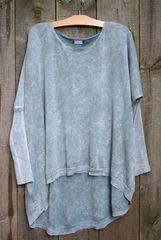 BK Moda Mineral Wash Hi-lo Pullover Sweater