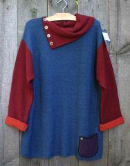 Margaret Winters Reversible Split Collar Tunic Sweater