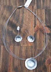 Origins Silver Flower Necklace & Earrings