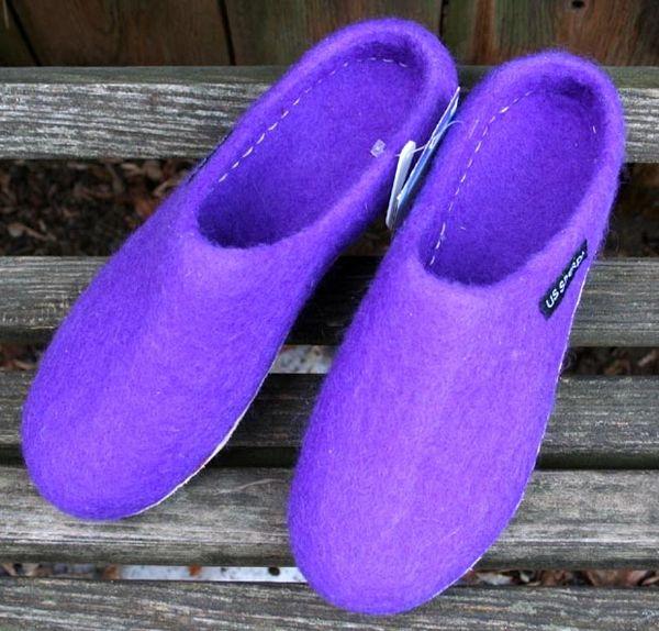 Sherpa Wool Felt Slippers