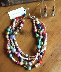 Mixed Media Four Strand Necklace