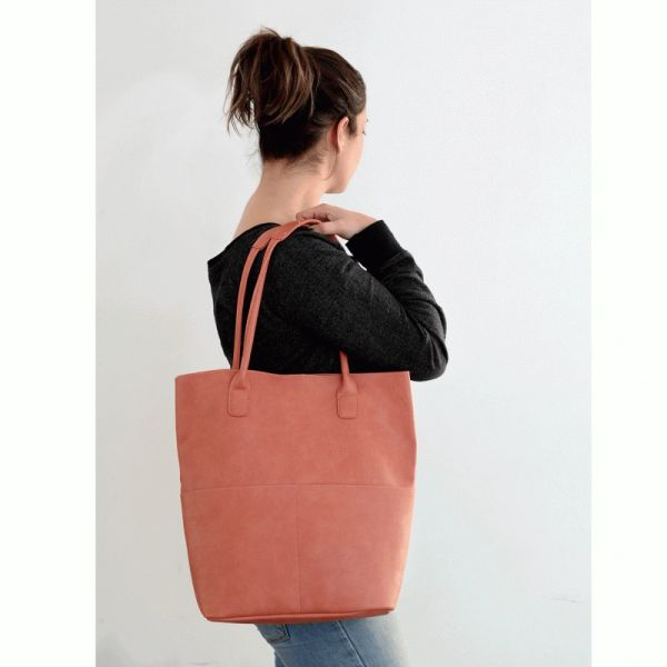 Joy Susan Kelly Vegan Tote Set -- Coral