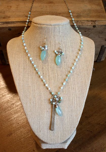 Original Hardware Peruvian Opal and Aqua Chalcedony Necklace