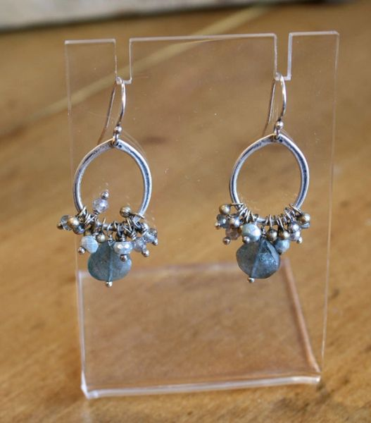 Original Hardware Labradorite Cluster Earrings
