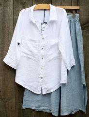 Tempo Paris White Linen Blouse