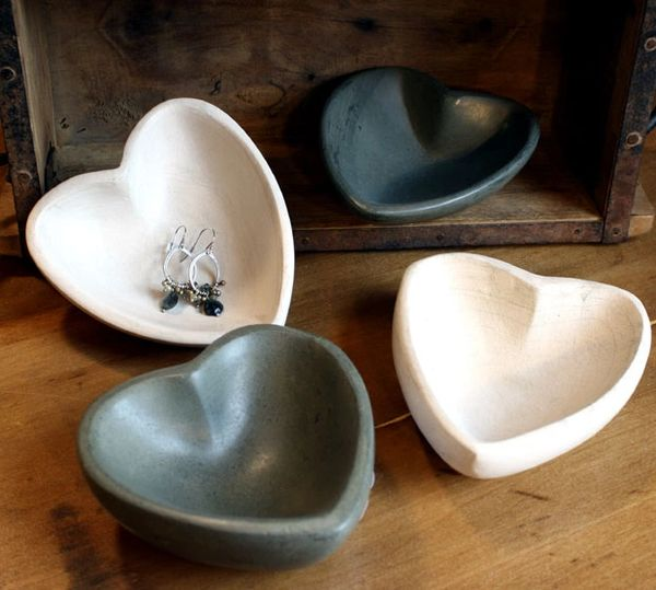 Carved Stone Heart Bowls