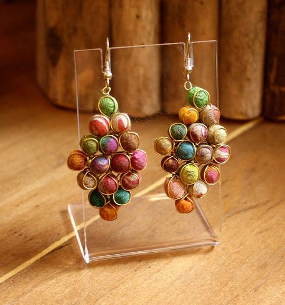World Finds Kantha Diamond Earrings