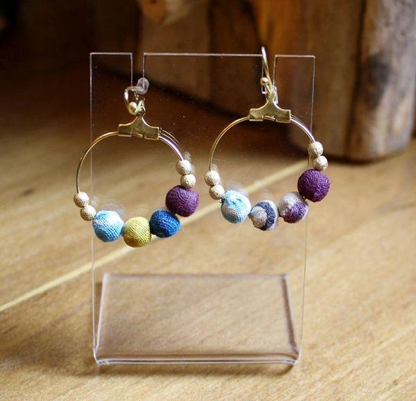 World Finds Beaded Hoop Kantha Earrings