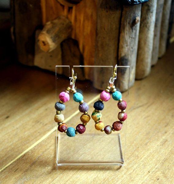World Finds mini-Teardrop Kantha Earrings