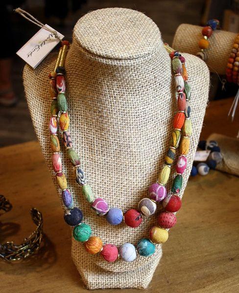 World Finds Cylinder Kantha Bead Necklace