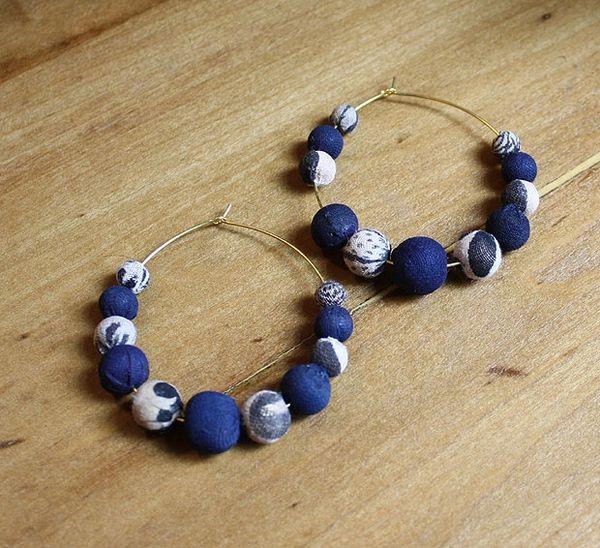 World Finds Indigo Bead Hoop Earrings
