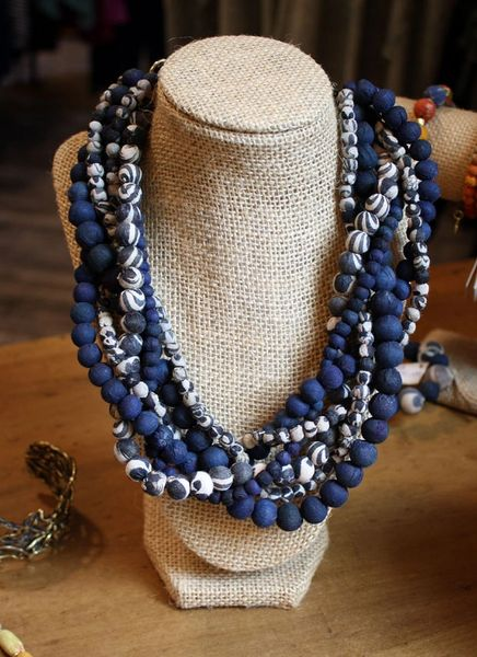 World Finds Braided Indigo Bead Necklace